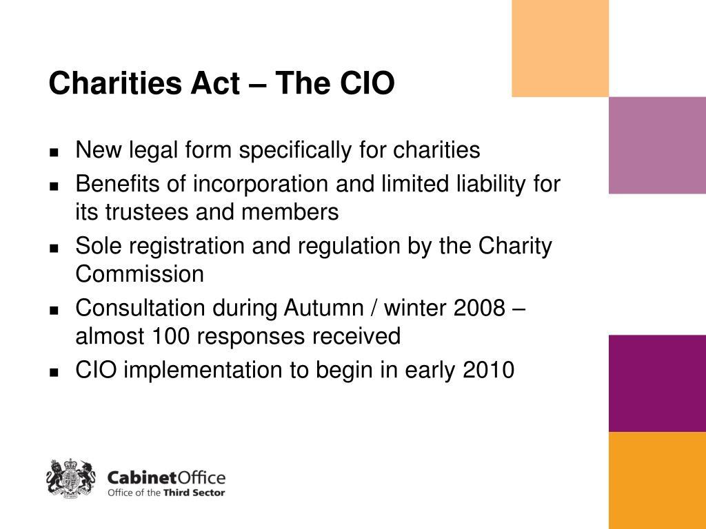 Charities Act – The CIO