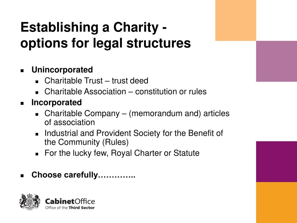 Establishing a Charity - options for legal structures