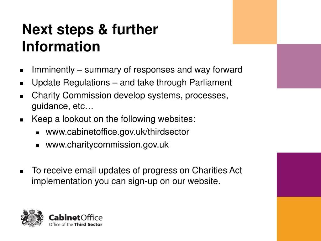 Next steps & further Information
