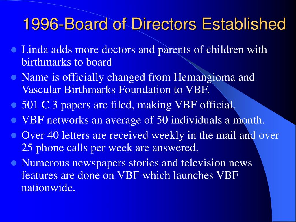 1996-Board of Directors Established