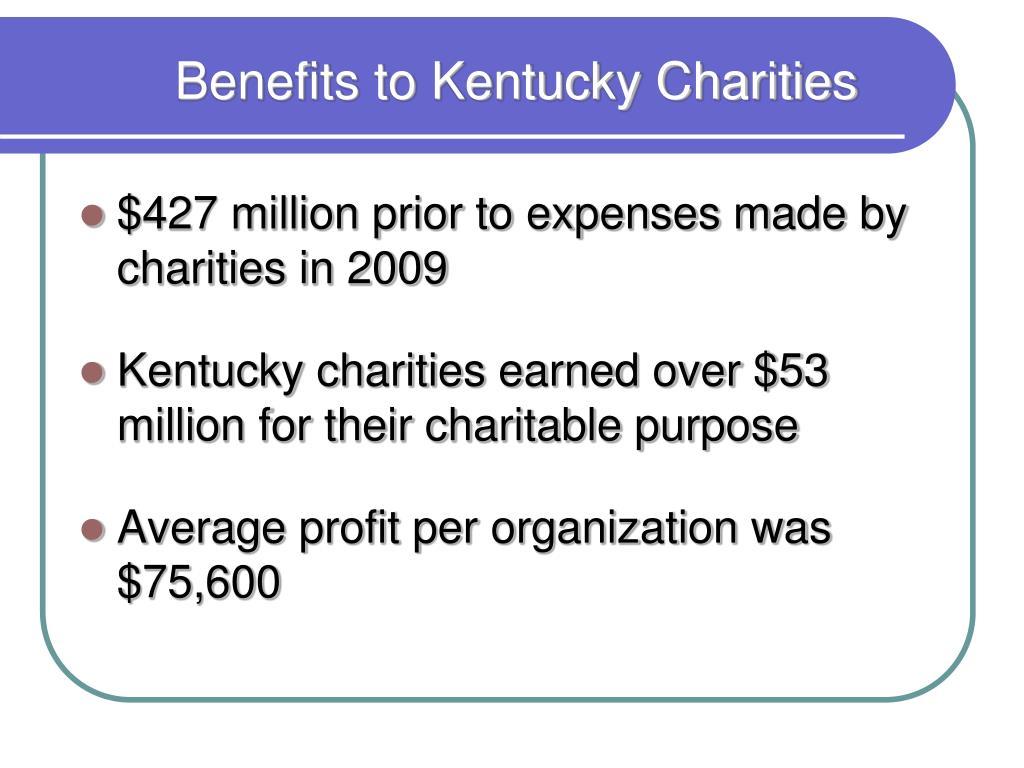 Benefits to Kentucky Charities