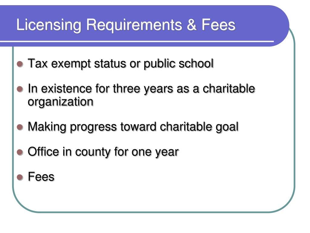 Licensing Requirements & Fees