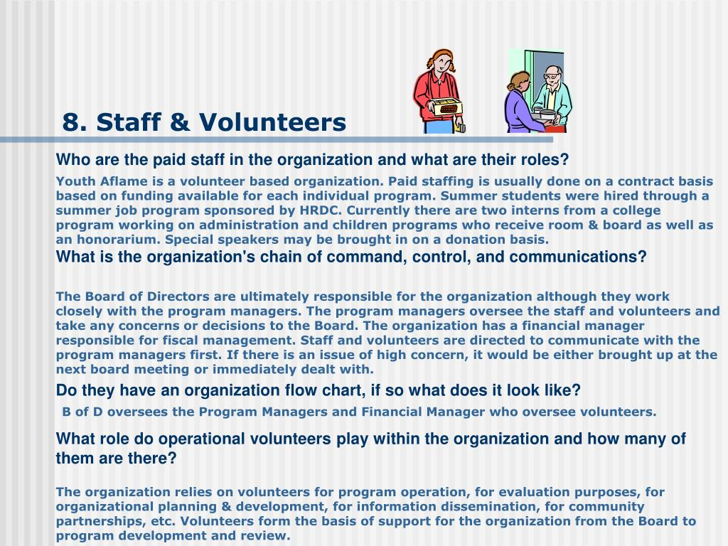 8. Staff & Volunteers