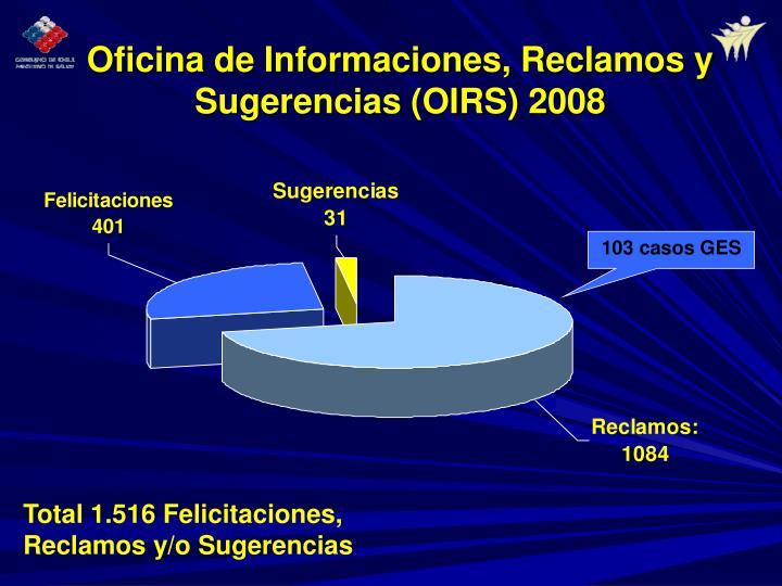 Oficina de Informaciones, Reclamos y Sugerencias (OIRS) 2008