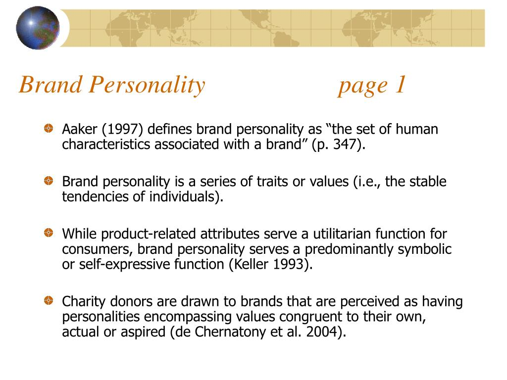 Brand Personality                     page 1