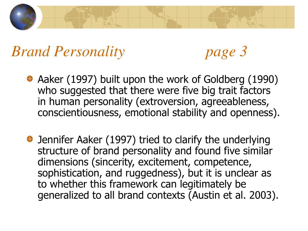 Brand Personality                     page 3