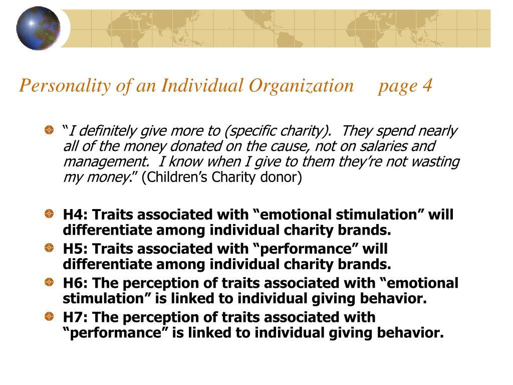 Personality of an Individual Organization     page 4