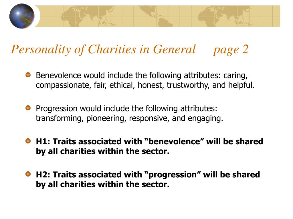 Personality of Charities in General