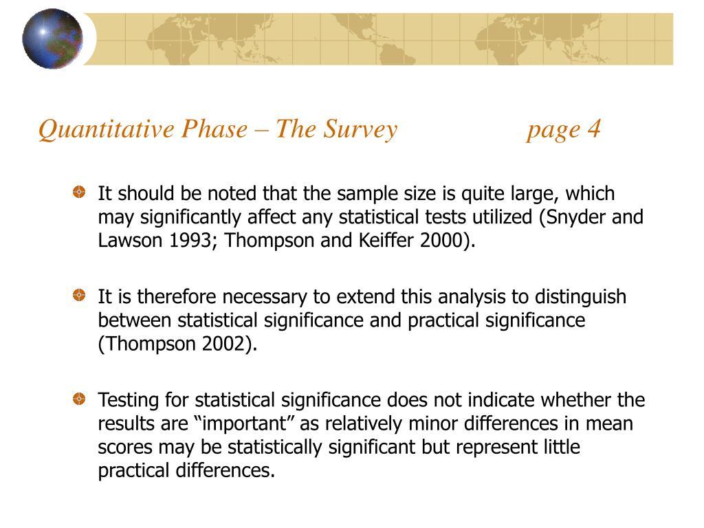 Quantitative Phase – The Survey                   page 4