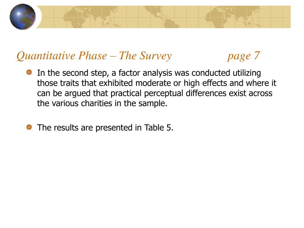 Quantitative Phase – The Survey                   page 7