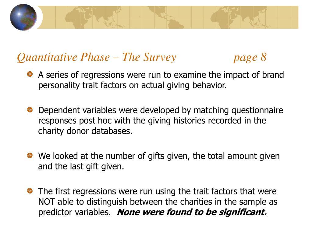 Quantitative Phase – The Survey                   page 8