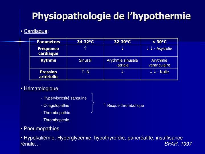 Physiopathologie de lhypothermie