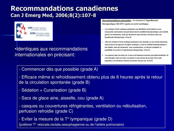Recommandations canadiennes