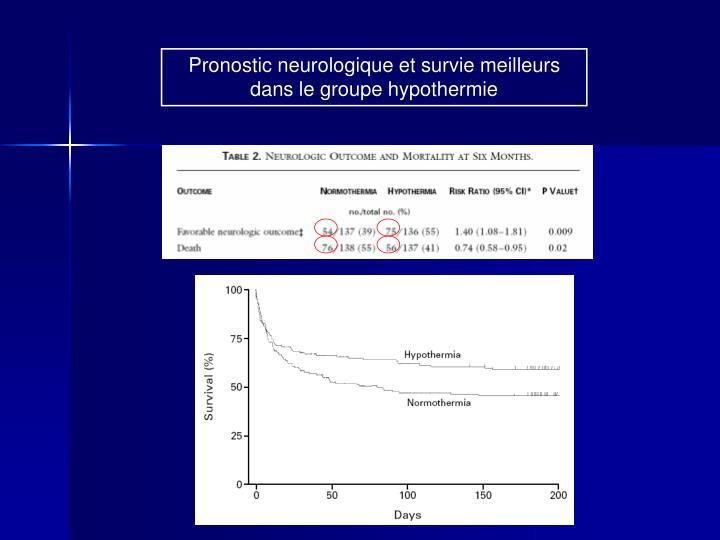 Pronostic neurologique et survie meilleurs dans le groupe hypothermie