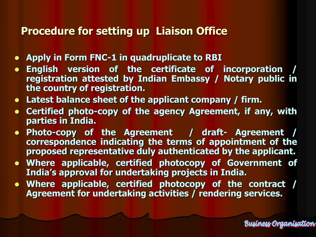 Procedure for setting up  Liaison Office