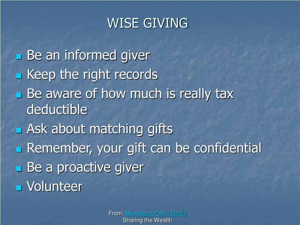 WISE GIVING