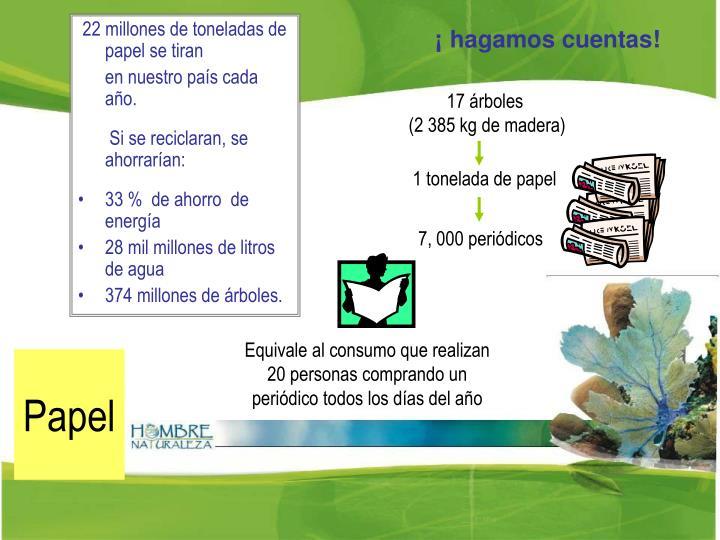 22 millones de toneladas de papel se tiran