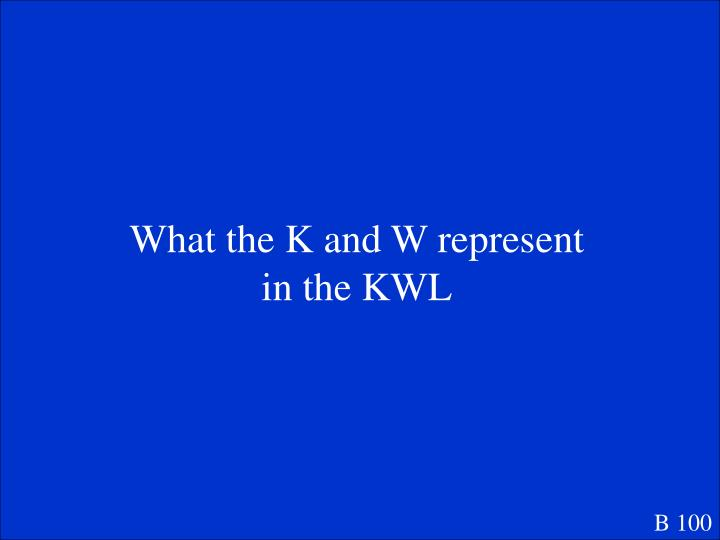 What the K and W represent in the KWL