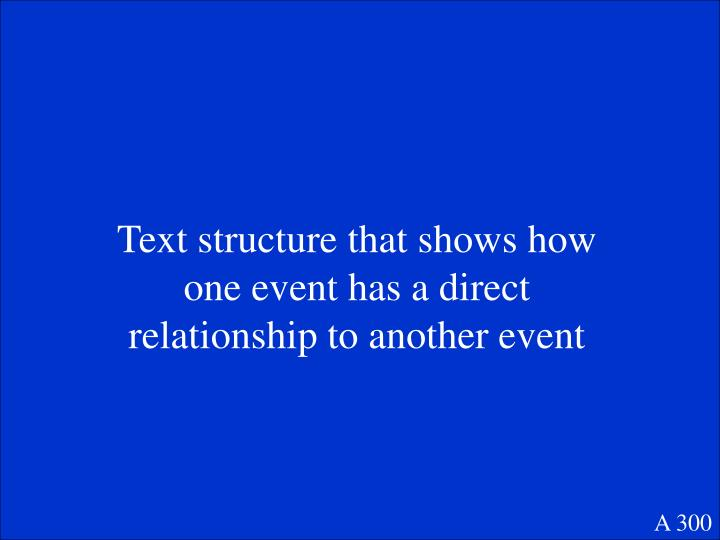 Text structure that shows how one event has a direct relationship to another event