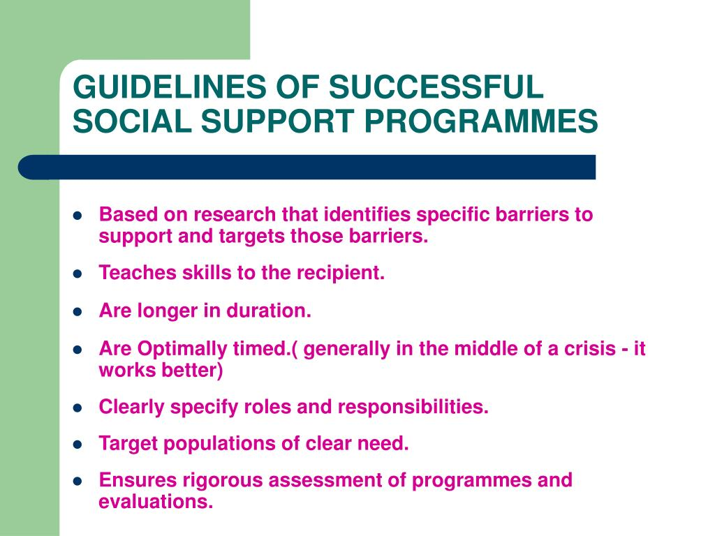 GUIDELINES OF SUCCESSFUL SOCIAL SUPPORT PROGRAMMES