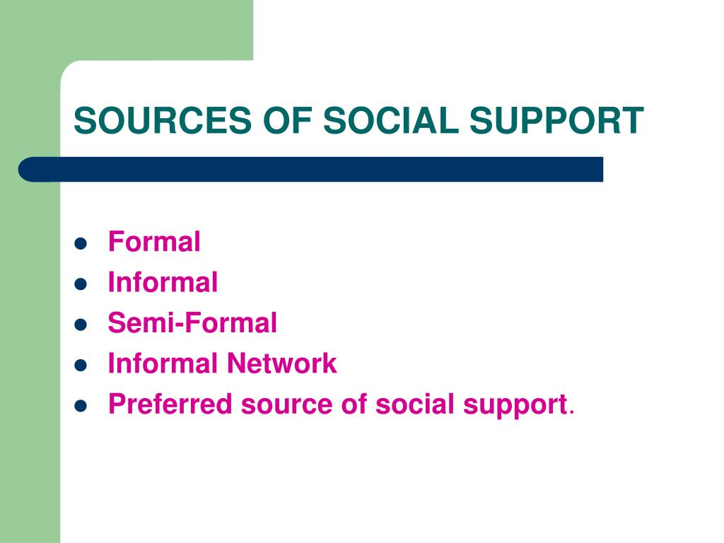 SOURCES OF SOCIAL SUPPORT