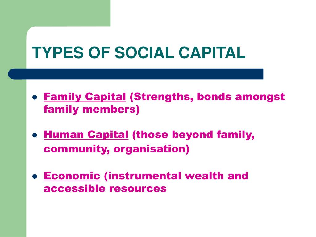 TYPES OF SOCIAL CAPITAL