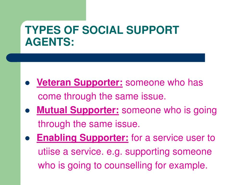TYPES OF SOCIAL SUPPORT AGENTS: