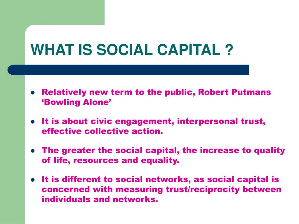 WHAT IS SOCIAL CAPITAL ?