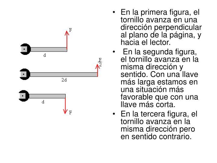 En la primera figura, el tornillo avanza en una direccin perpendicular al plano de la pgina, y hacia el lector.