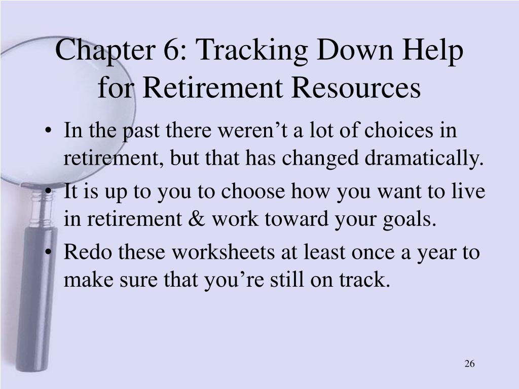Chapter 6: Tracking Down Help for Retirement Resources
