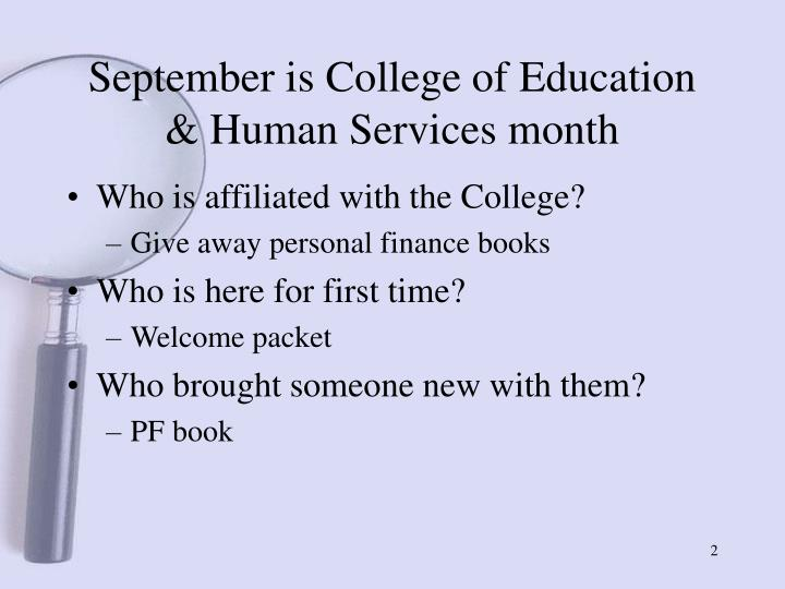 September is college of education human services month