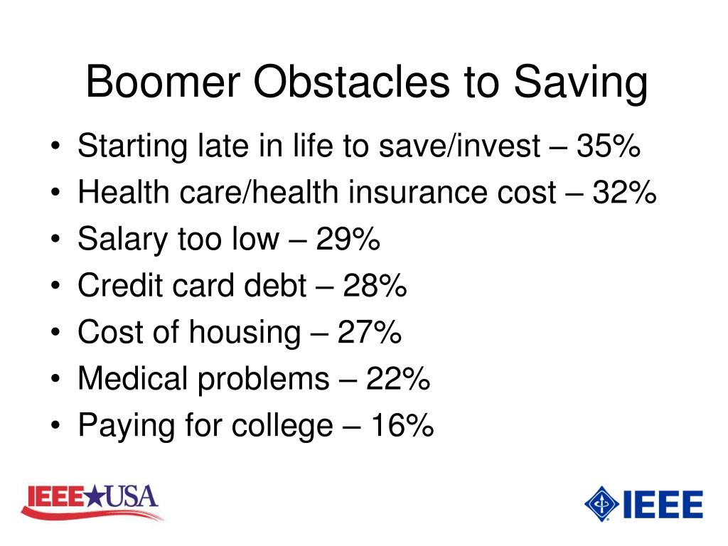 Boomer Obstacles to Saving