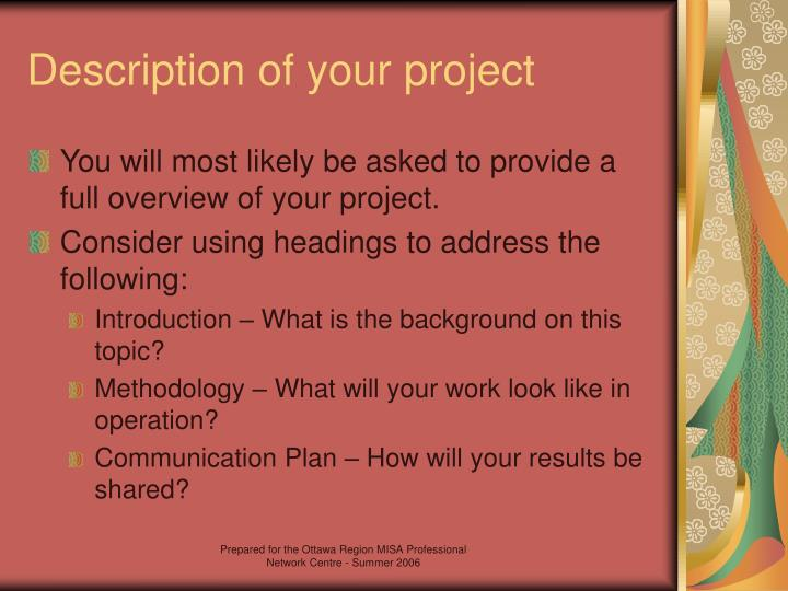 Description of your project