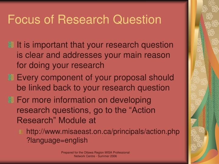 Focus of Research Question