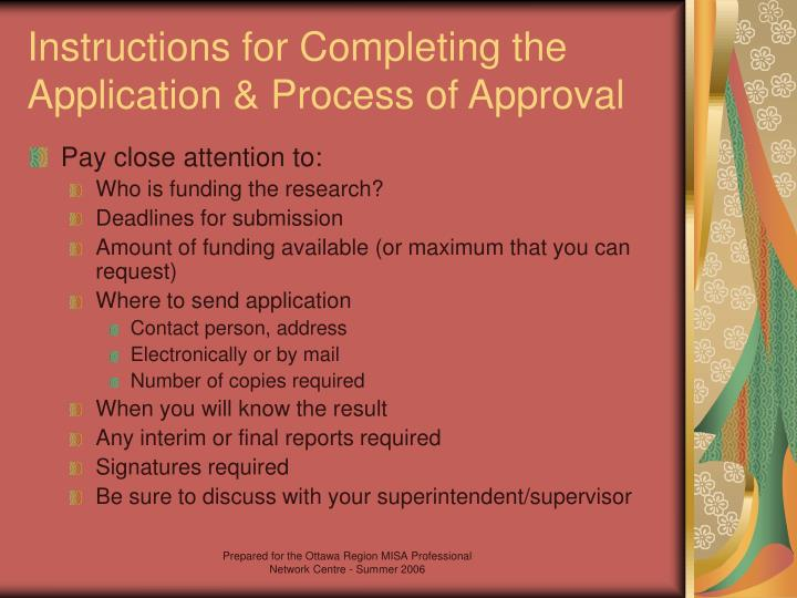 Instructions for Completing the Application & Process of Approval