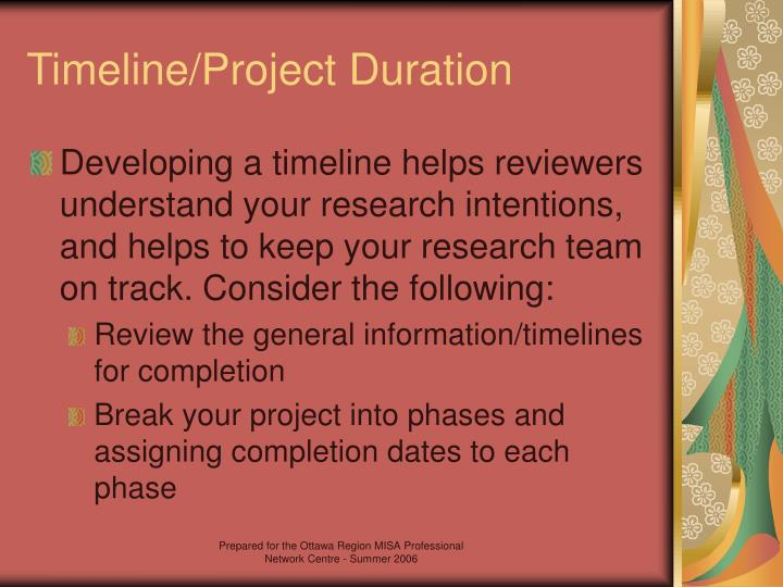 Timeline/Project Duration