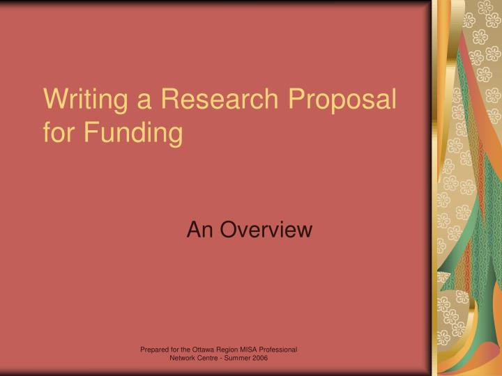 Writing a research proposal for funding