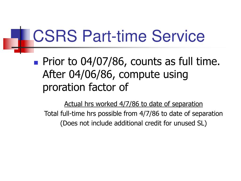 CSRS Part-time Service
