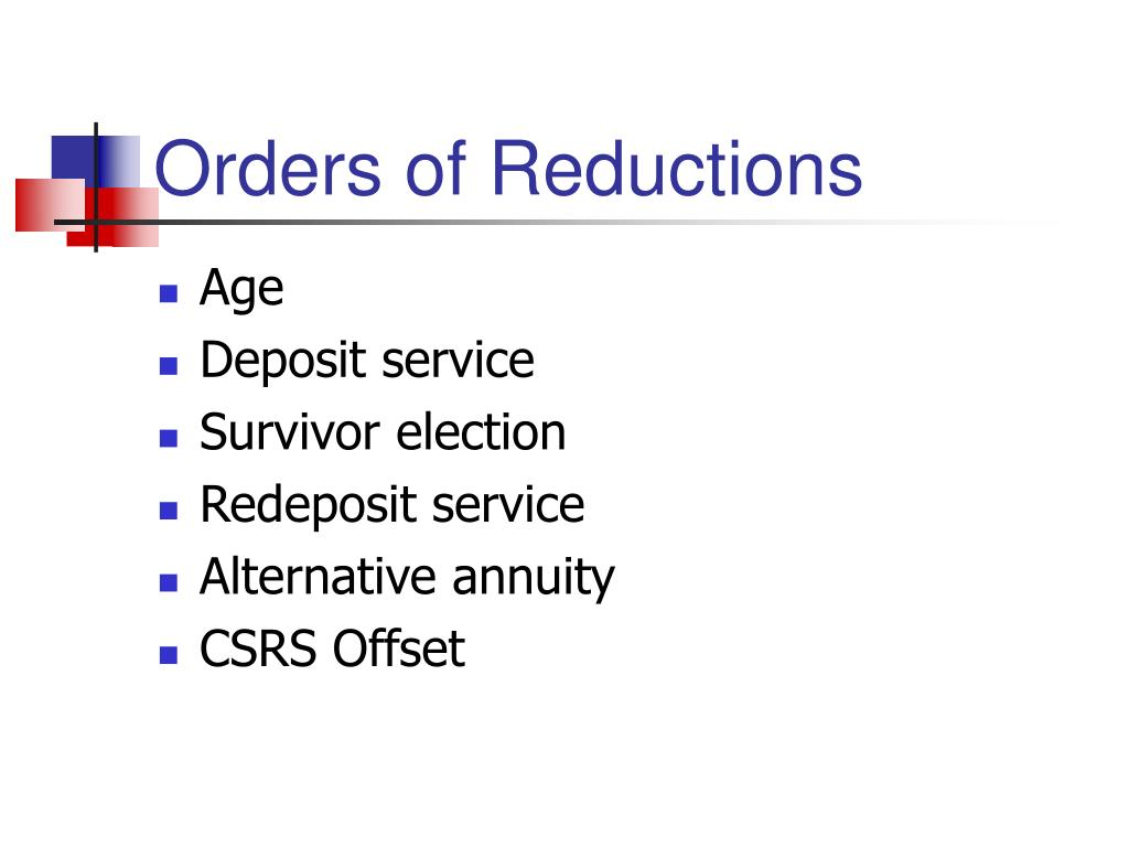 Orders of Reductions