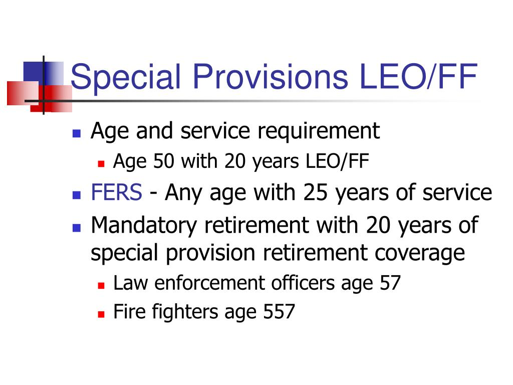 Special Provisions LEO/FF