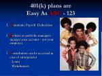 401 k plans are easy as abc 123