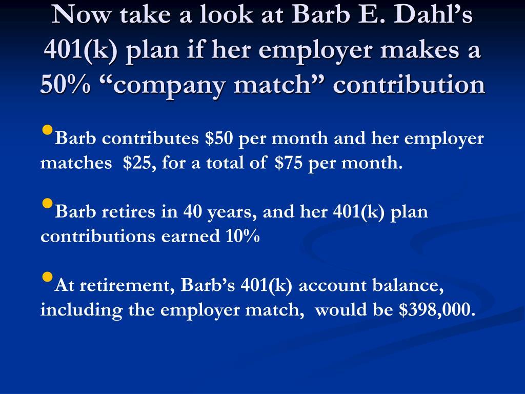 """Now take a look at Barb E. Dahl's 401(k) plan if her employer makes a 50% """"company match"""" contribution"""