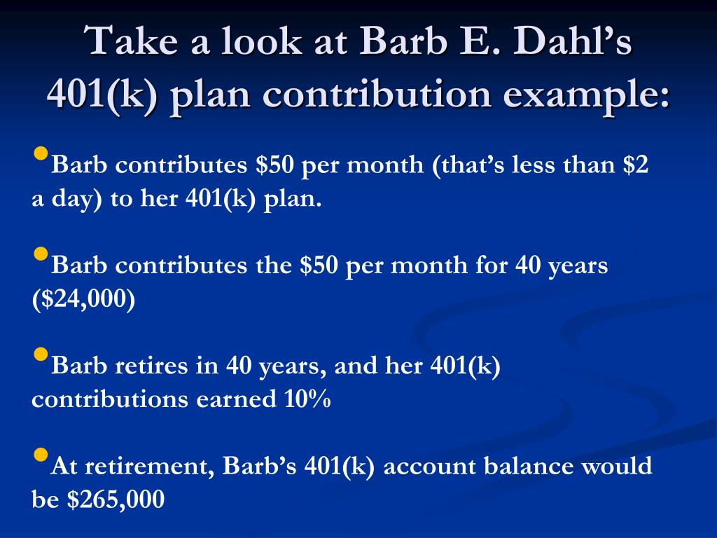 Take a look at Barb E. Dahl's 401(k) plan contribution example: