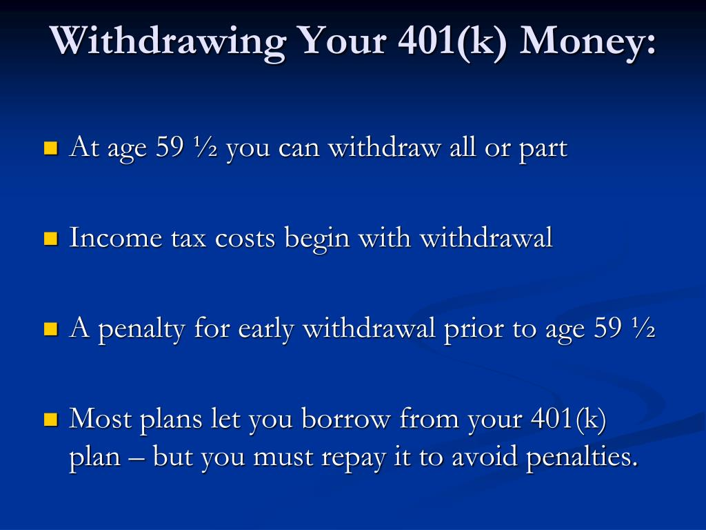 Withdrawing Your 401(k) Money: