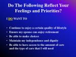 do the following reflect your feelings and priorities