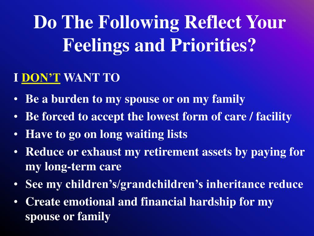 Do The Following Reflect Your Feelings and Priorities?