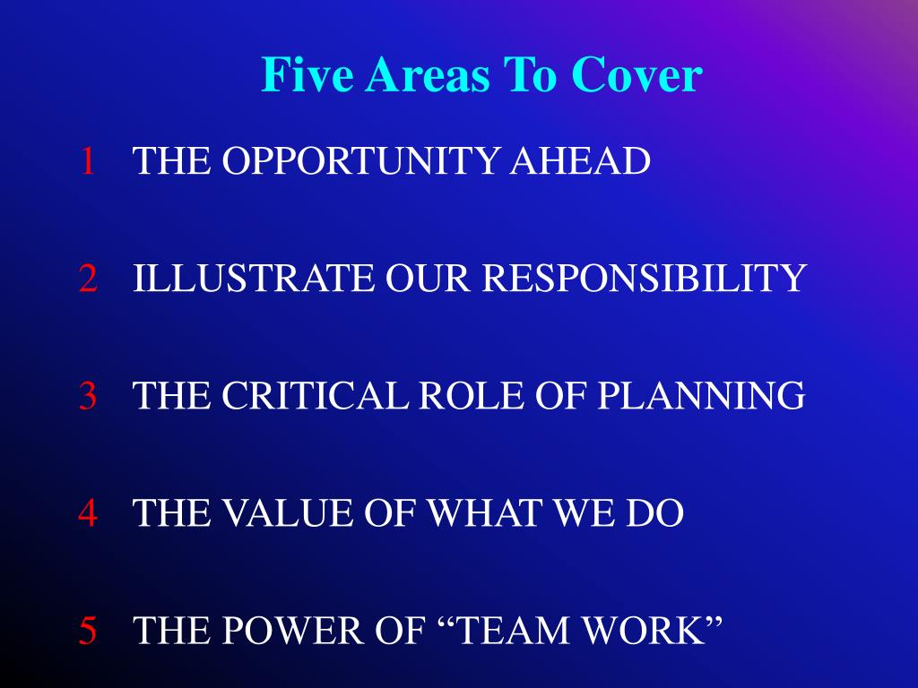 Five Areas To Cover