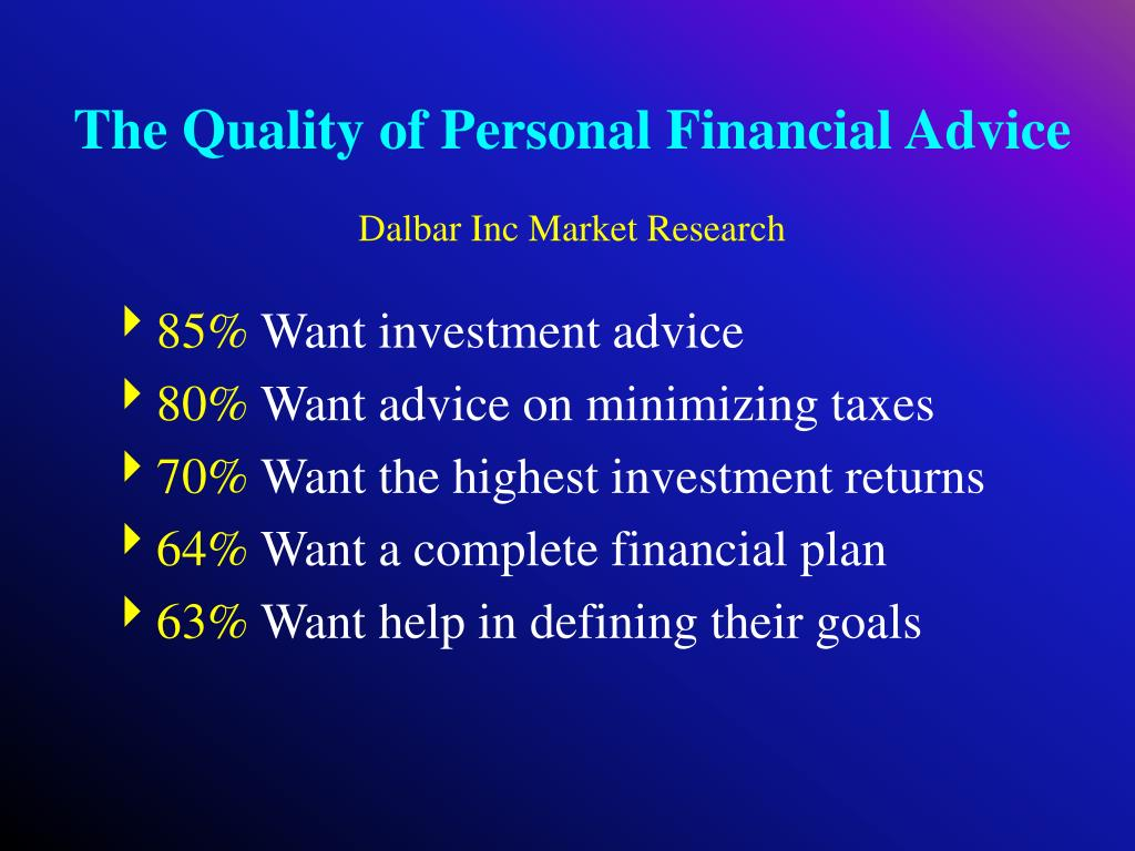 The Quality of Personal Financial Advice