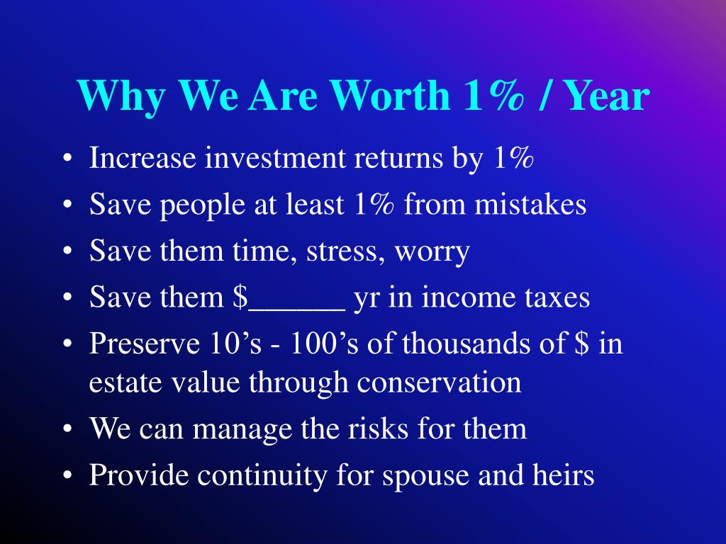 Why We Are Worth 1% / Year
