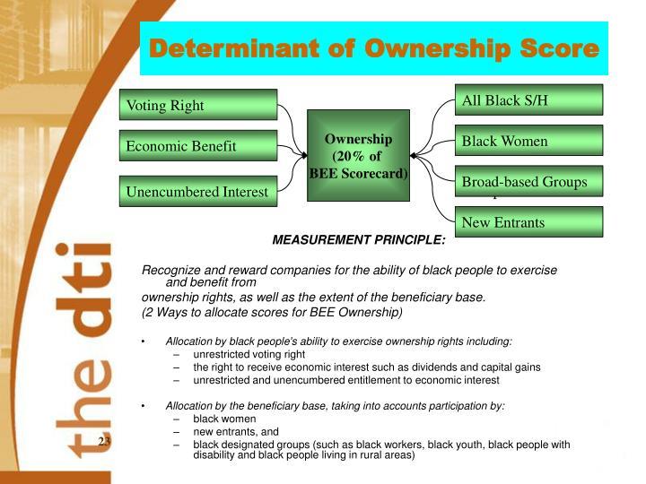 Determinant of Ownership Score